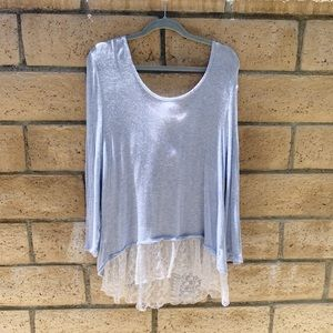 Baby blue lace flowy top
